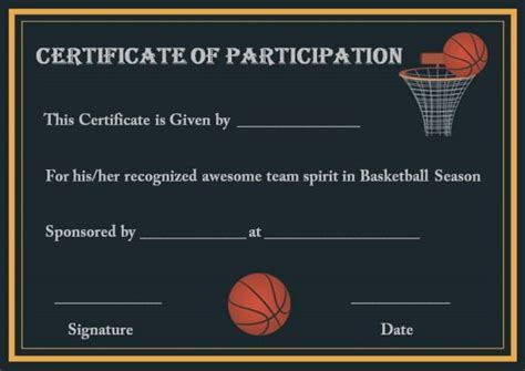 youth basketball participation certificate basketball