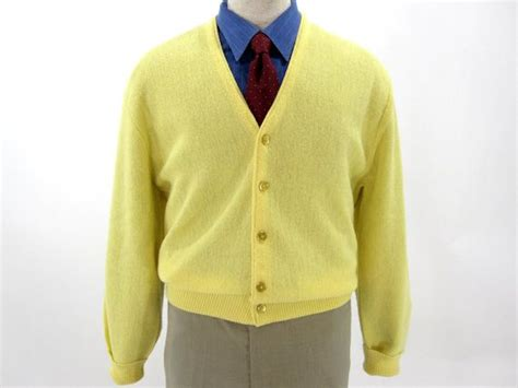 Yellow Cardigan Sweater By Arnold Palmer For Robert Bruce