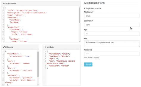 react component  building web forms  jsonschema