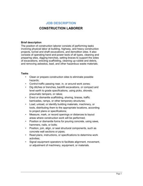 construction laborer description best resumes