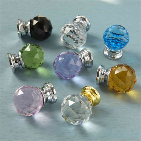 Crystal Glass Faceted Cupboard Drawer Knob Cabinet Door