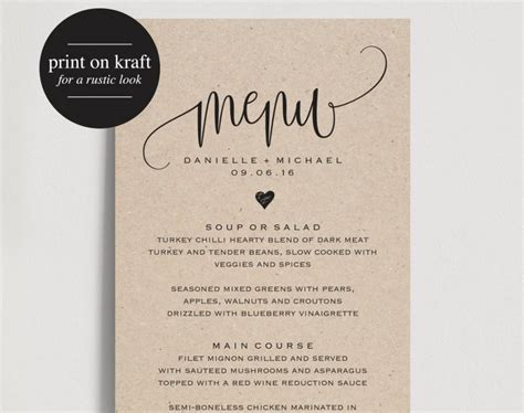rustic wedding menu wedding menu template menu cards