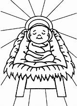 Coloring Nativity Jesus Pages Printable Manger sketch template