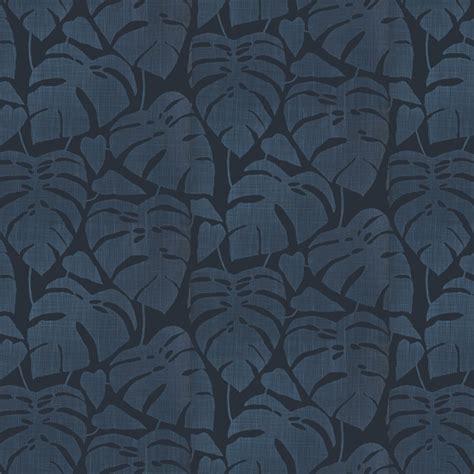papier peint bleu ton sur ton feuilles effet tissage missprint au fil des couleurs