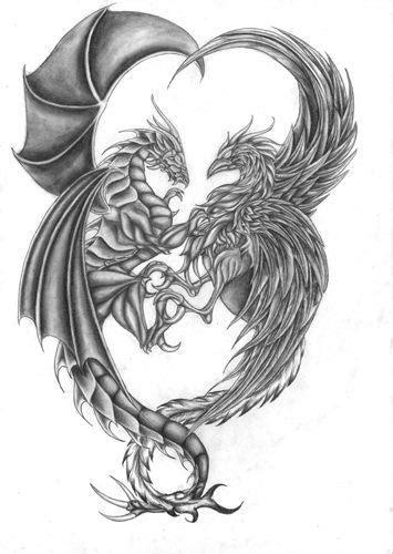 Dragon and Phoenix drawing | Tattoo Ideas/ piercing | Dragon tattoo designs, Phoenix tattoo