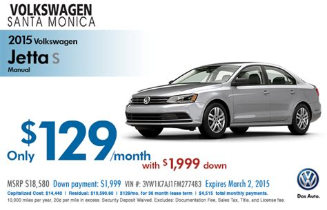 New 2015 Volkswagen Lease Specials