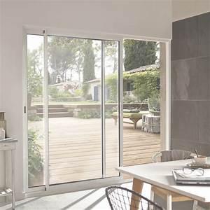 Porte Fenetre Galandage Prix : baie vitr e aluminium blanc primo x cm leroy ~ Premium-room.com Idées de Décoration