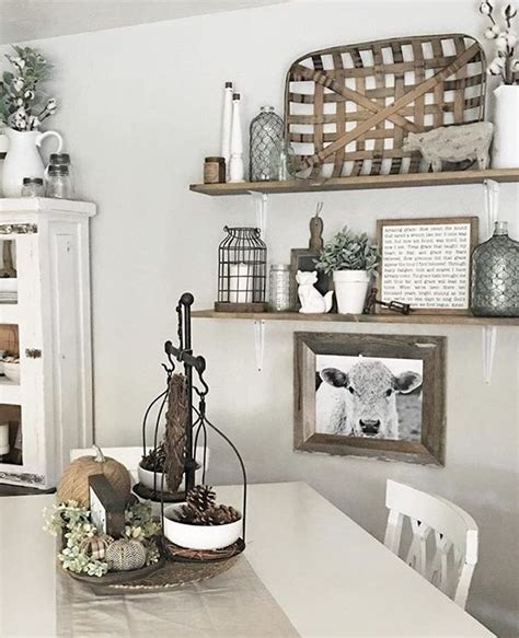 Decorating Ideas Kitchen Walls by Open Shelves And Decor Farmhouse Style Farmhouse Wall