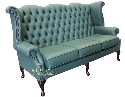 chesterfield 3 seater high back wing sofa jade