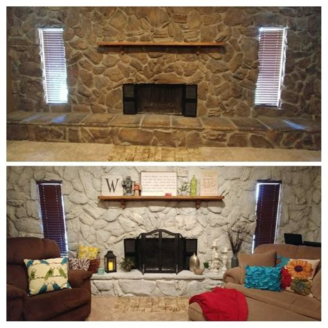 whitewash stone fireplace beforeafter whitewash stone