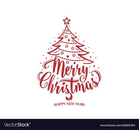 merry christmas tree vector merry christmas and happy new year text tree vector image