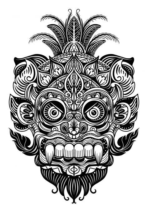 hand drawn illustration ornamental element tattoo devil mask warrior tribal mask vector