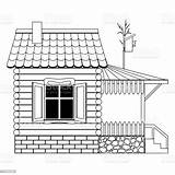 Coloring Roof Porch Window Foundation Wooden Stone Birdhouse Children Tiled Brick Terrace Natural Fenster Kinder Architecture Ein Backgrounds Lines Gedecktes sketch template