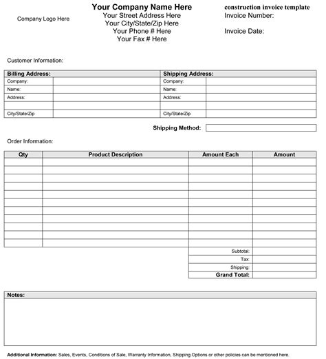 Construction Template Construction Invoice Template Invoice Exle