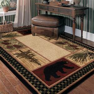 Lodge, Cabin, Rustic, Bear, Pinecone, Black, Green, Brown, Red, Area, Rug, Free, Shipping