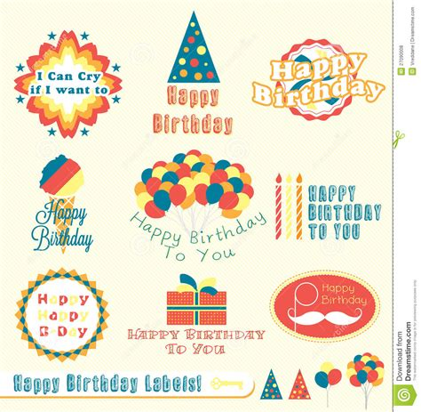 Avery Greeting Card Template Best Of 23 Birthday Card Retro Happy Birthday Labels And Stickers Stock Vector