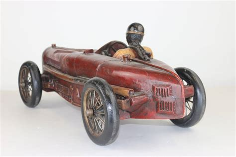 Early Bugatti Models by Vintage Large Racing Bugatti Model With Driver With