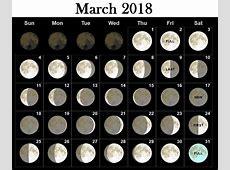 March 2018 Moon Phases Calendar Calendar 2018