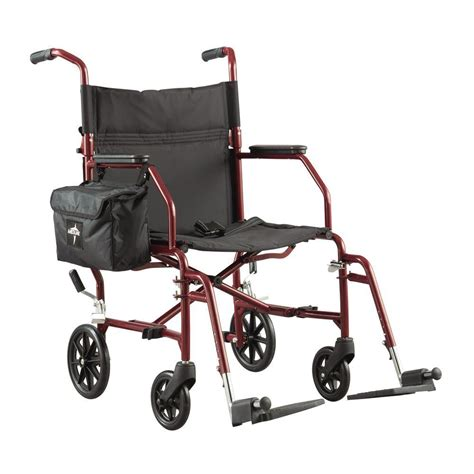 medline ultra light steel transport wheelchair in silver