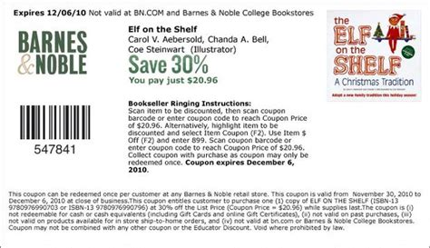 Barnes & Noble 30% Off Elf On The Shelf Coupon (pay .96