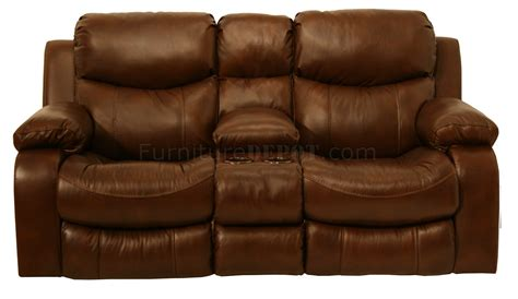 Loveseat Console by Catnapper Tobacco Top Grain Leather Dallas Motion Sofa W