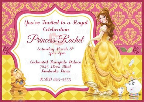 printable princess belle birthday party invitation party
