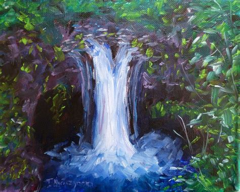 Custom Made Oil Painting Of A Beautiful Waterfall By Fine
