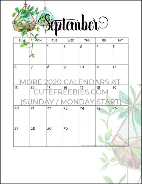 september  calendar printable plants cute freebies