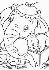 Elephant Coloring Dumbo Tulamama sketch template