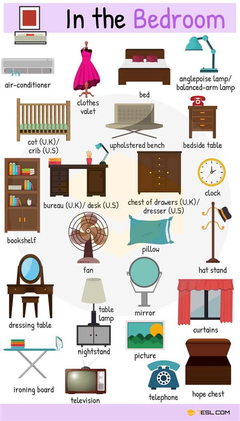 In The Bedroom Vocabulary  Names Of Bedroom Objects  7 E S L