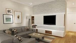 ecran plat mural une option elegante pour le salon moderne With tapis de yoga avec canapé télé