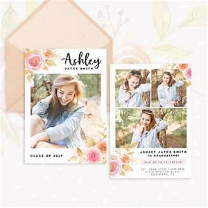 college grad announcement templates floral senior graduation template strawberry kit