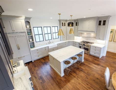 transitional family home  grey kitchen home bunch