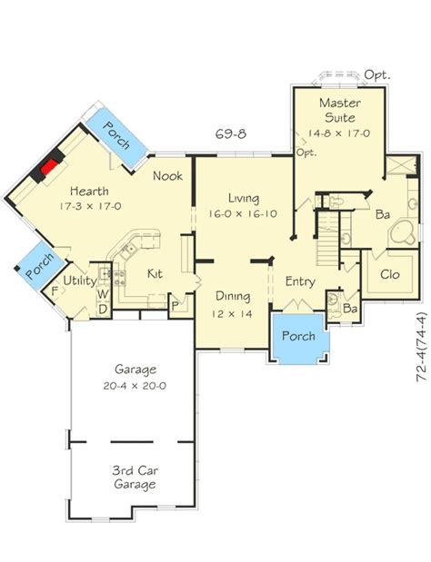 Floor Plans With Hearth Room by 4 Bed Angled Hearth Room House Plan 68046hr