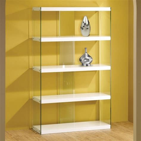 Floating Glass Cabinet - white glass display cabinet bookcase floating shelves