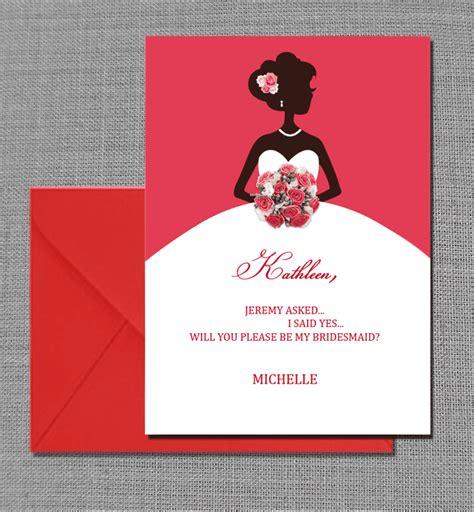 bridesmaid card wedding invitation