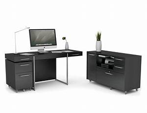Black Painted Home Office Computer Desk Design With Wheels