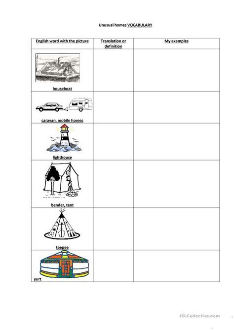 QUIZ UNUSUAL TYPES OF HOMES worksheet Free ESL printable
