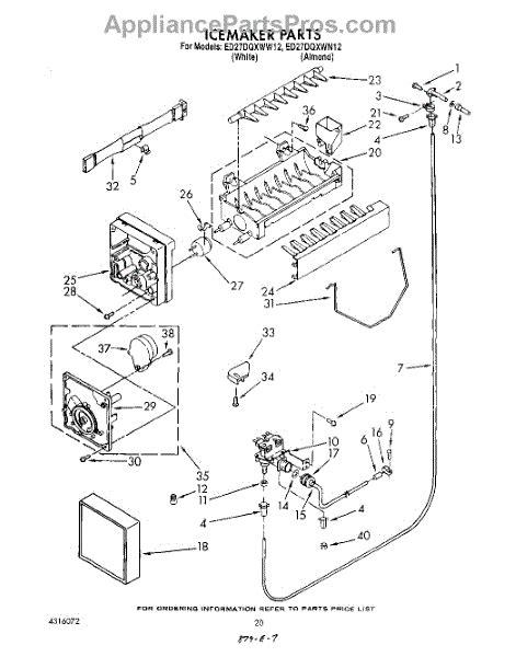 parts  whirlpool eddqxwn ice maker