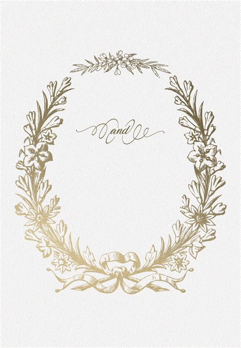 golden wreath rehearsal dinner party invitation template