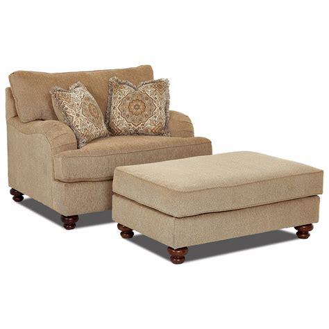klaussner declan oversized chair  ottoman set royal