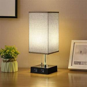 Odomy, Usb, Bedside, Table, Lamp, Nightstand, Lamp, With, 2, Usb, Charging, Port, For, Bedroom, Living, Room