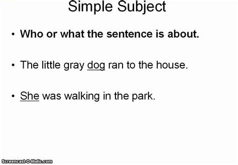 Simple Subjects And Predicates Youtube