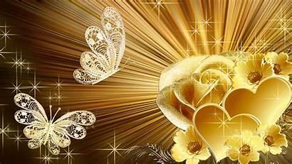 Golden Rose Hearts Stars Gold Background Desktop