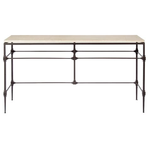 Tory Modern Classic Honed Travertine Aged Iron Console Table