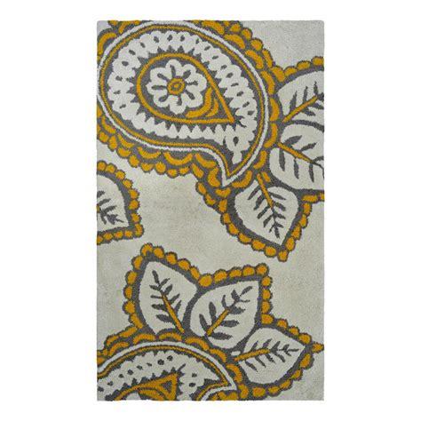 yellow throw rug shop allen roth yellow grey paisley rectangular indoor