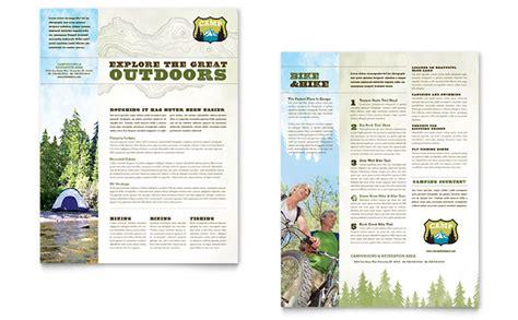 nature camping hiking datasheet template design