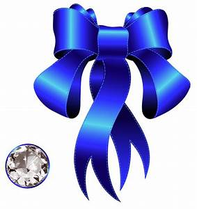 Blue Decorative Bow with Diamond PNG Clipart | Gallery ...