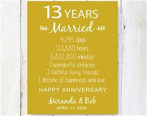 13 year anniversary etsy With 13 wedding anniversary traditional gifts
