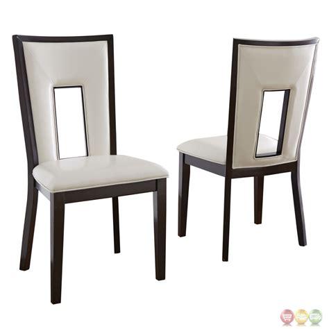 set of 2 delano okoume white vinyl dining chairs in
